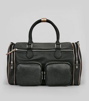 Black Double Pocket Front Bowler Bag