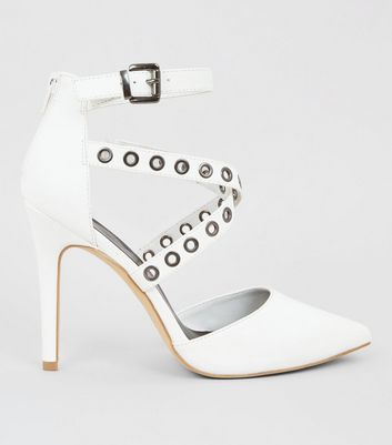 White Eyelet Cross Strap Pointed Heels