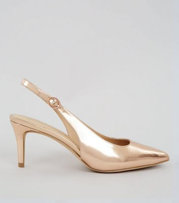 Rose Gold Metallic Sling Back Heels