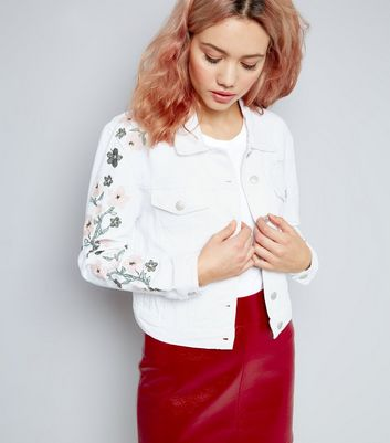 Urban Bliss White Floral Embroidered Denim Jacket