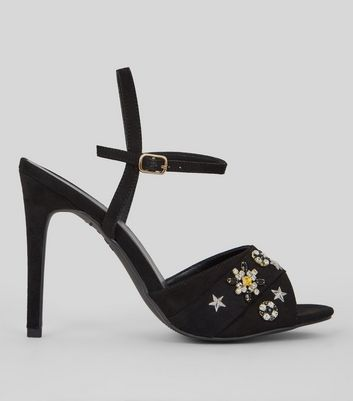 Black Embellished Detail Heeled Sandals