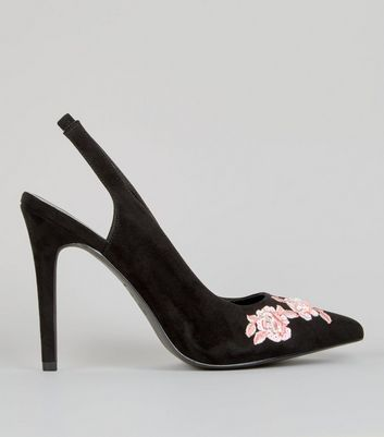 Wide Fit Black Floral Embroidered Sling Back Heels
