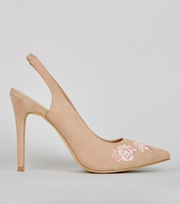 Wide Fit Nude Pink Floral Embroidered Sling Back Heels
