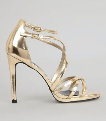 Gold Multi Strap Cross Front Heeled Sandals