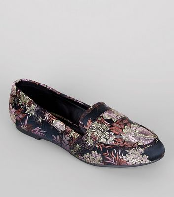 Wide Fit Black Floral Brocade Loafers