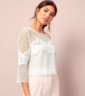 White Spot Mesh Lace Panel Top