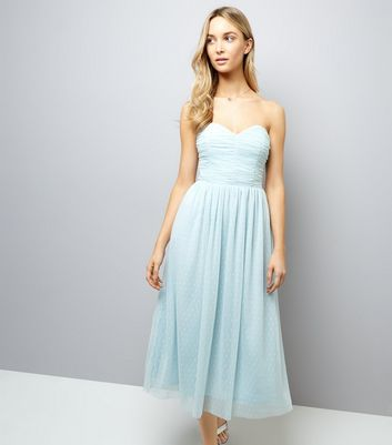 Pale Blue Premium Mesh Bandeau Dress