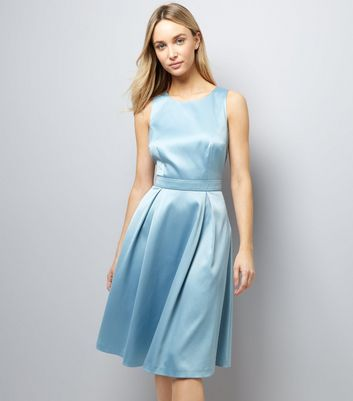 Bright Blue Sateen Midi Prom Dress