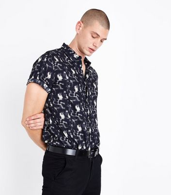 Black Mottled Short Sleeve Shirt