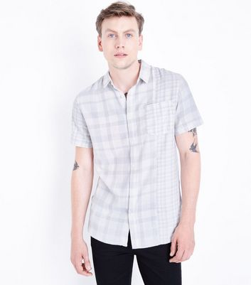 White Check Print Short Sleeve Shirt