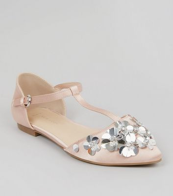 Wide Fit Nude Pink Satin Floral Embellished T Bar Pumps