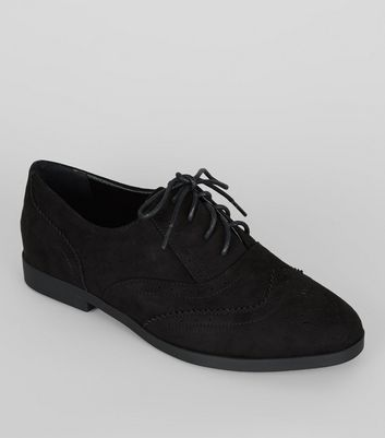 Black Suedette Lace Up Brogues