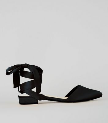 Wide Fit Black Satin Ankle Tie Sandals