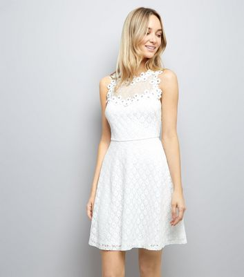White Lace Embellished Sleeveless Skater Dress