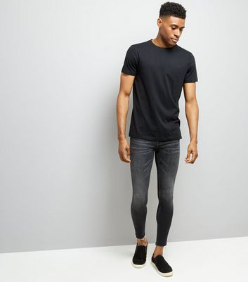 Black Raw Hem Super Skinny Jeans
