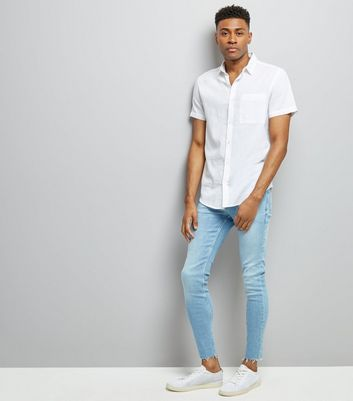 Blue Raw Hem Super Skinny Jeans