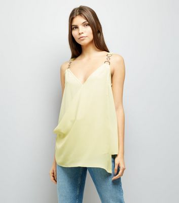 Yellow Ring Strap Asymmetric Wrap Front Top