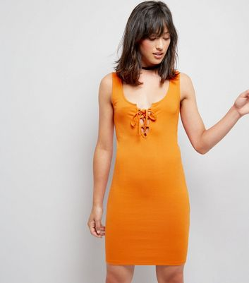 Bright Orange Ribbed Tie Front Bodycon Dress