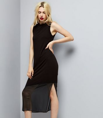 Black Sleeveless Split Side Midi Dress