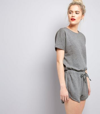 Grey Sweater Tie Waist Playsuit