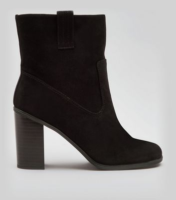 Black Suedette Mid Calf Heeled Boots