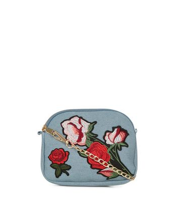 Pale Blue Floral Embroidered Across Body Bag