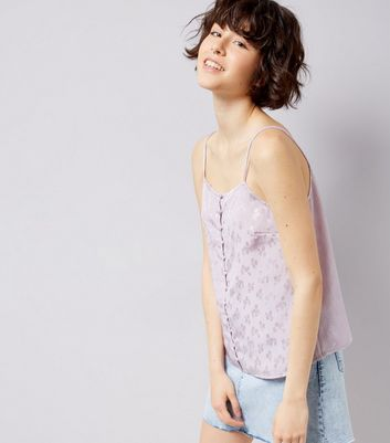 Lilac Floral Jacquard Button Front Cami Top