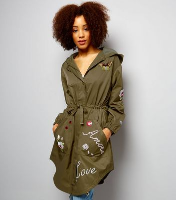 Anita and Green Khaki Embroidered Parka