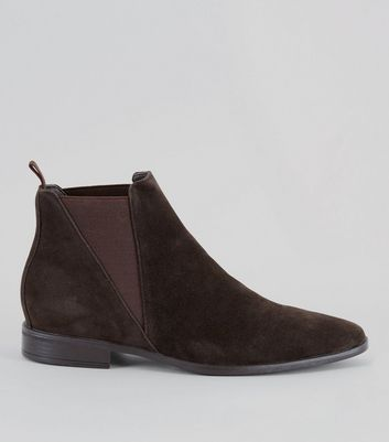 Dark Brown Suede Chelsea Boots