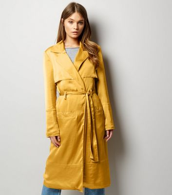 Anita and Green Yellow Sateen Duster Coat
