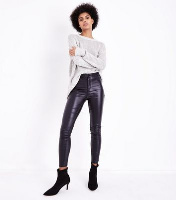 Black Leather-Look High Waist Skinny Hallie Jeans