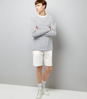 Off White Raw Hem Shorts