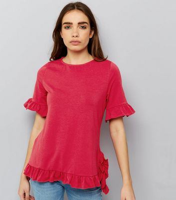 Anita and Green Pink Frill Trim Sleeve Top