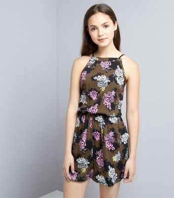 Teens Khaki Floral Print Playsuit