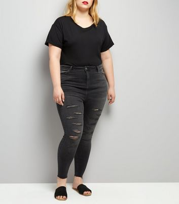 Curves Black Extreme Ripped Skinny Jeans