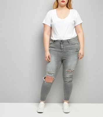 Curves Grey Ripped Skinny Jeans