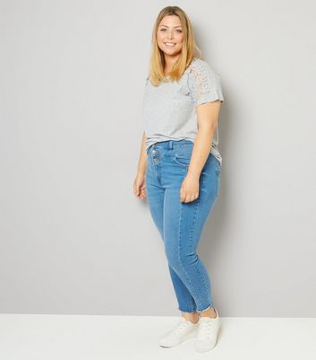 Curves Blue High Waist Seam Detail Skinny Jeans