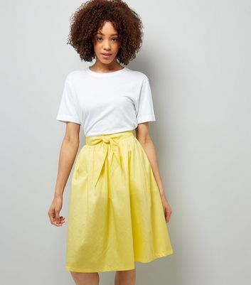 Yellow Tie Waist Midi Skirt