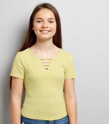 Teens Yellow Lattice Front T-Shirt