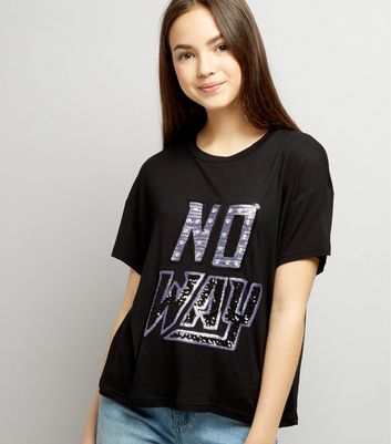 Teens Black No Way Sequin Embellished Cropped T-Shirt