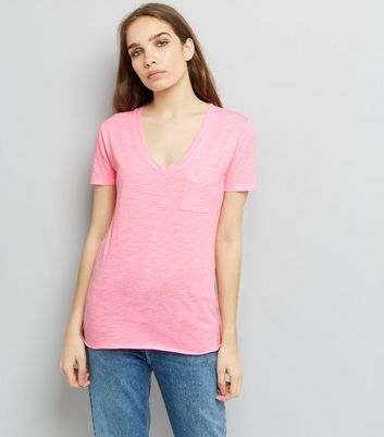 Bright Pink Organic Cotton V Neck T-Shirt