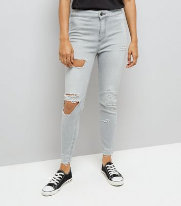 Petite Grey Ripped High Waist Skinny Jeans