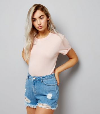 Petite Blue High Waist Ripped Denim Shorts