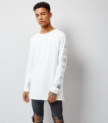 White Eye Print Sleeve Longline T-Shirt