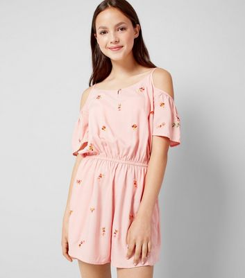 Teens Pink Floral Embroidered Playsuit