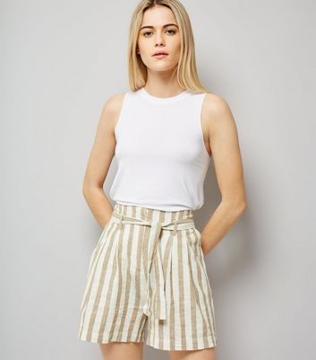 White Stripe Tie Waist Shorts
