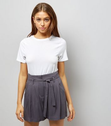 Dark Grey Tie Waist Shorts