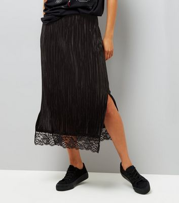 Black Pleated Lace Hem Midi Pencil Skirt