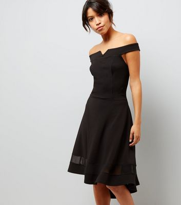 Tall Black Bardot Neck Mesh Panel Dip Hem Dress