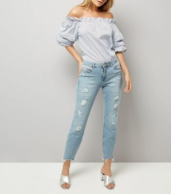 Blue Ripped Relaxed Skinny Leyla Jeans